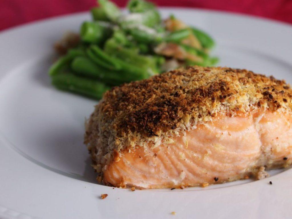 fitness recipe almond crusted salmon